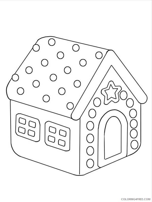 Gingerbread House Coloring Pages For Preschool Coloring4free -  Coloring4Free.com