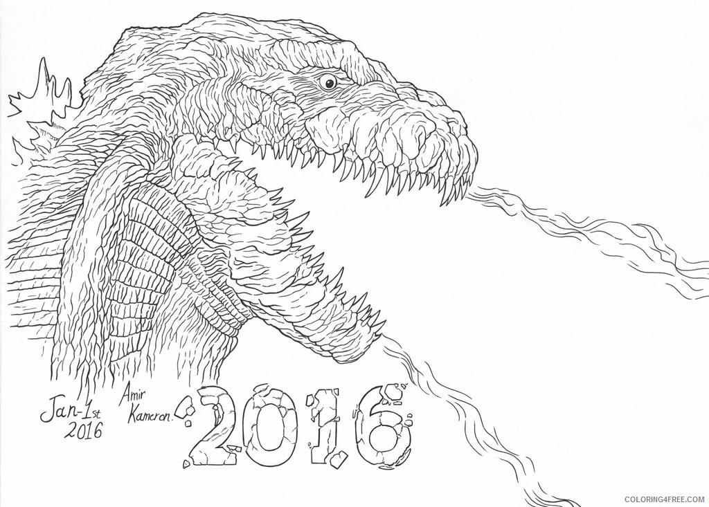Godzilla Coloring Pages Firing By Amir Kameron Coloring4free Coloring4free Com
