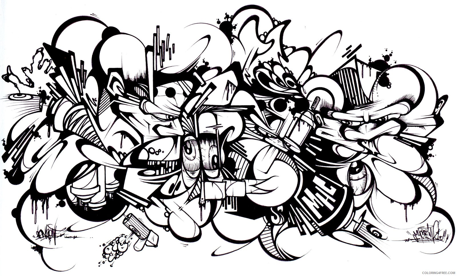 graffiti coloring pages for adults by sans Coloring4free ...