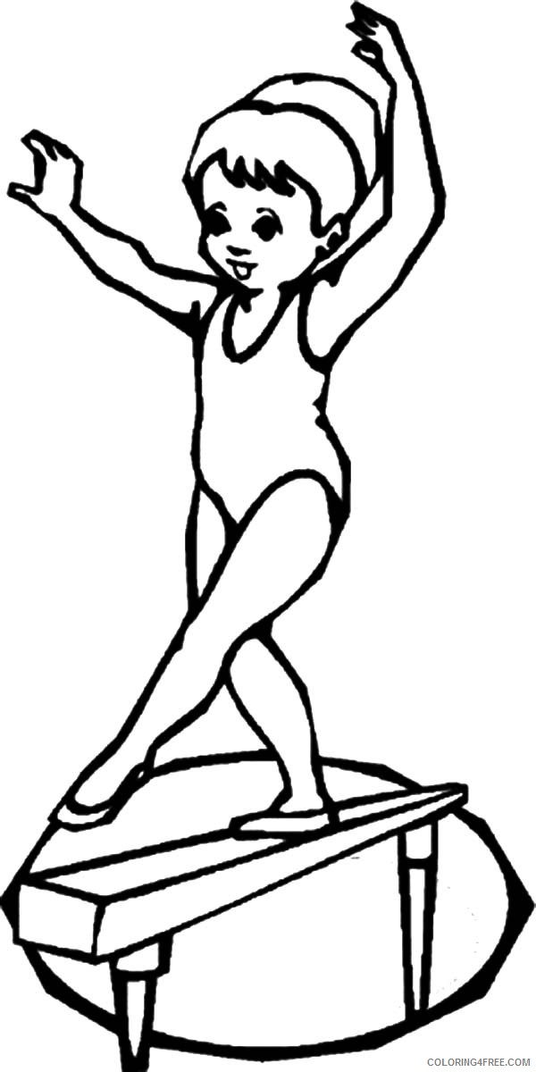 Gymnastics Coloring Pages Girl On Balance Beam Coloring4free Coloring4free Com