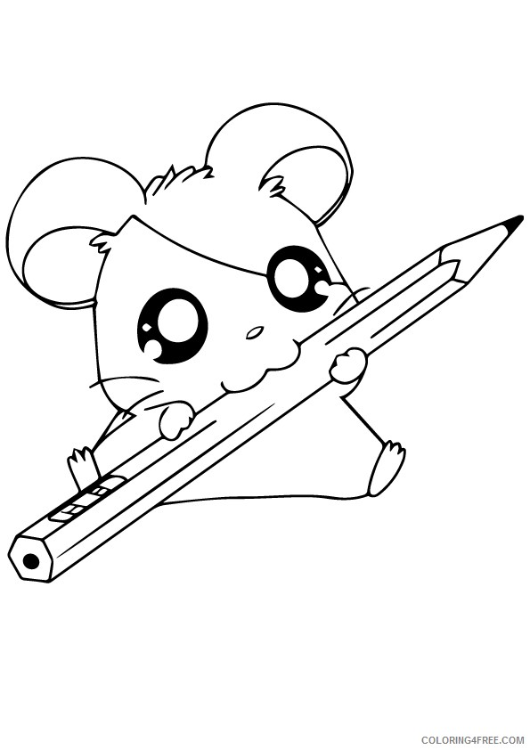 Hamster Coloring Pages Eating Pencil