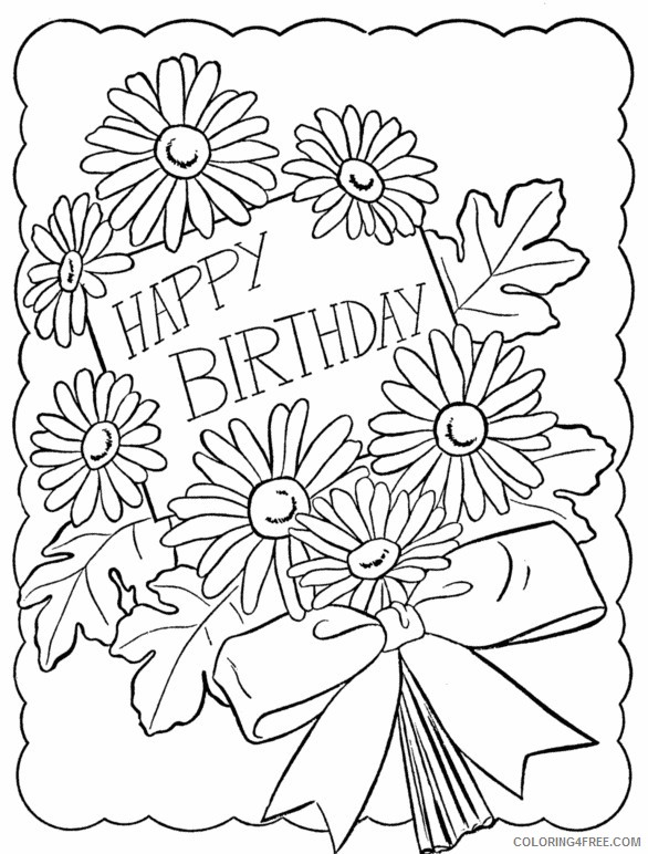 happy birthday coloring pages for girls with flower ...