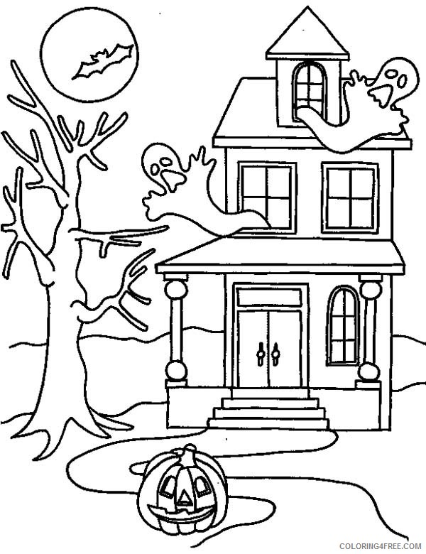 - Haunted House Coloring Pages In Halloween Coloring4free - Coloring4Free.com