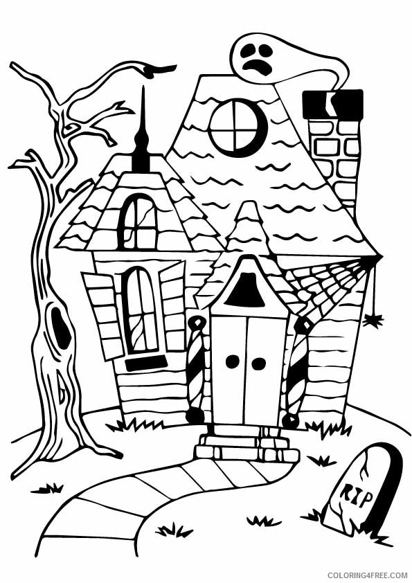 - Haunted House Coloring Pages To Print Coloring4free - Coloring4Free.com