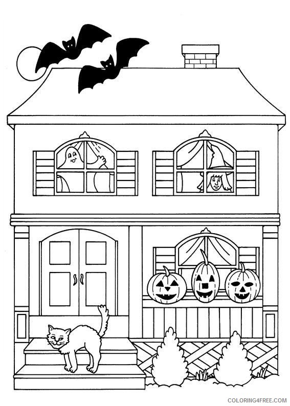- Haunted House Coloring Pages With Pumpkins Cat Bats Coloring4free -  Coloring4Free.com
