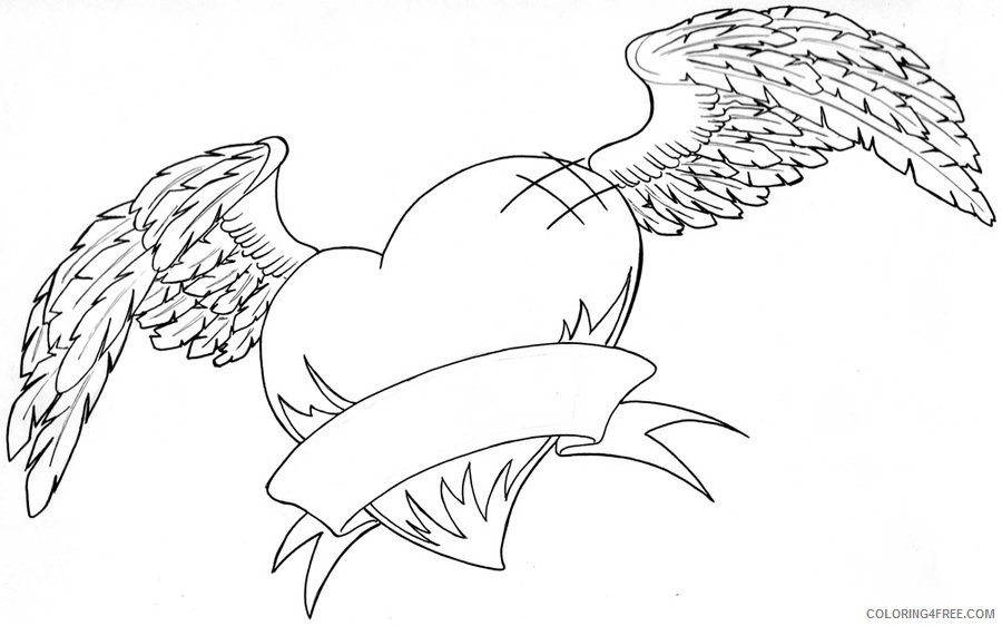 heart with wings coloring pages and banner Coloring4free ... | 562x900