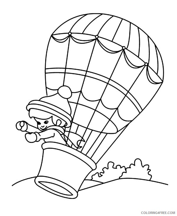 Hot Air Balloon Coloring Pages With Girl Inside Coloring4free -  Coloring4Free.com