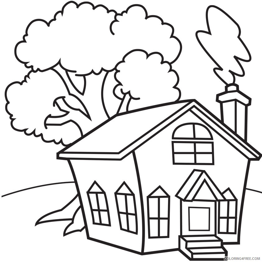House Coloring Pages Printable For Kindergarten Coloring4free -  Coloring4Free.com