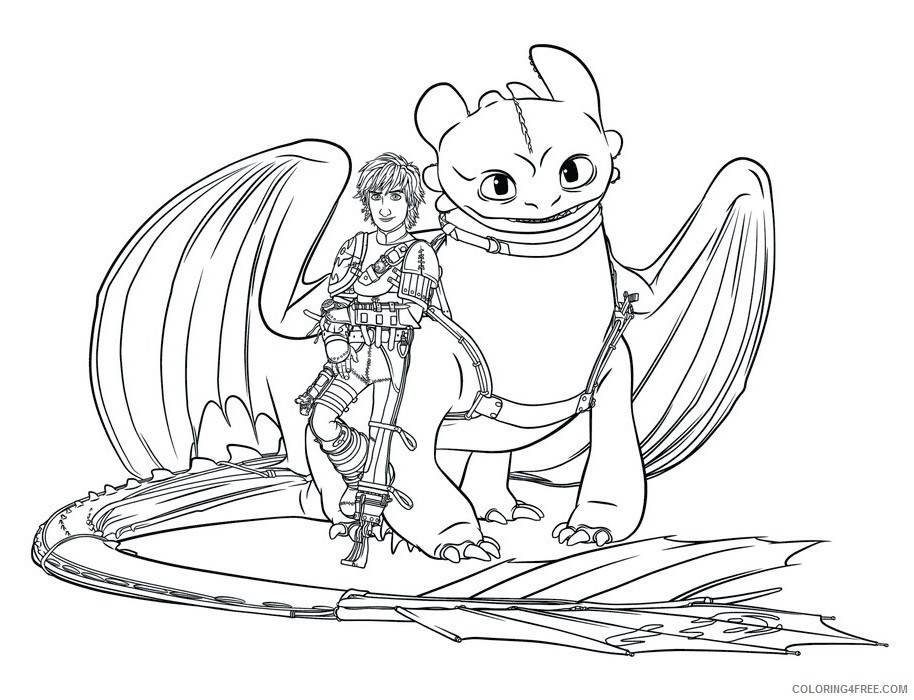 - How To Train Your Dragon Coloring Pages Hiccup And Toothless Coloring4free  - Coloring4Free.com