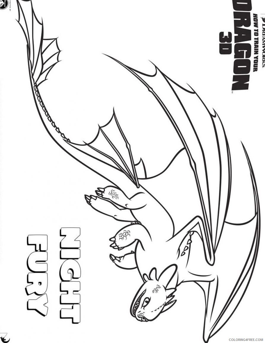 how to train your dragon coloring pages night fury dragon Coloring4free -  Coloring4Free.com