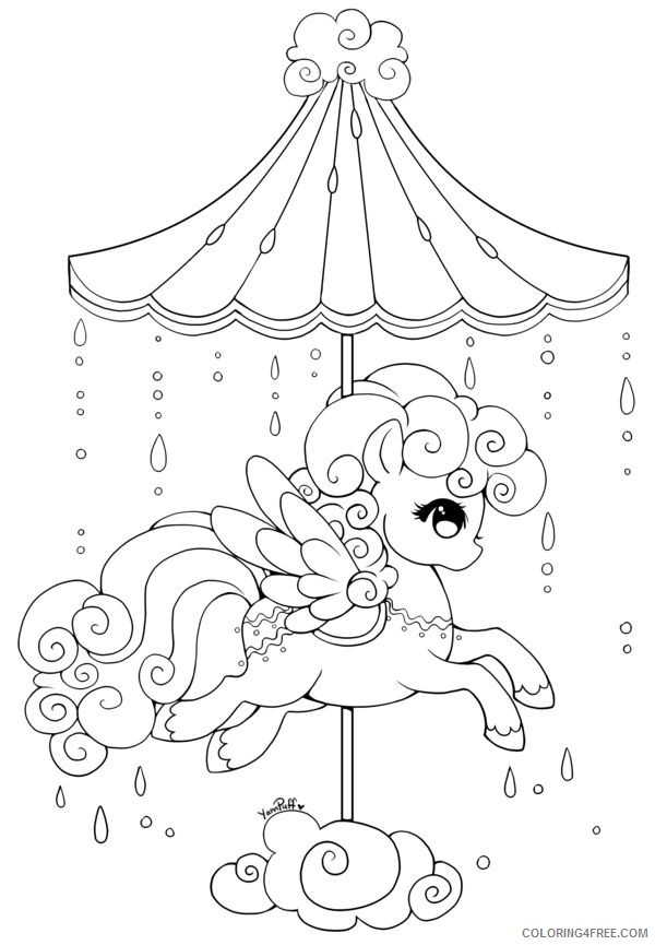 Kawaii Coloring Pages Carousel Coloring4free Coloring4free Com