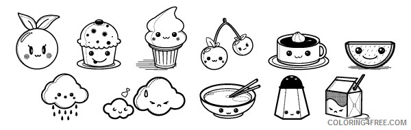 Kawaii Coloring Pages Of Foods Coloring4free Coloring4free Com