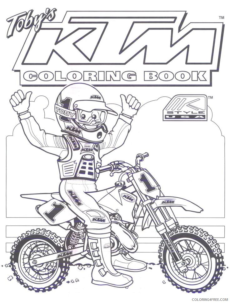 - Ktm Dirt Bike Coloring Pages Coloring4free - Coloring4Free.com