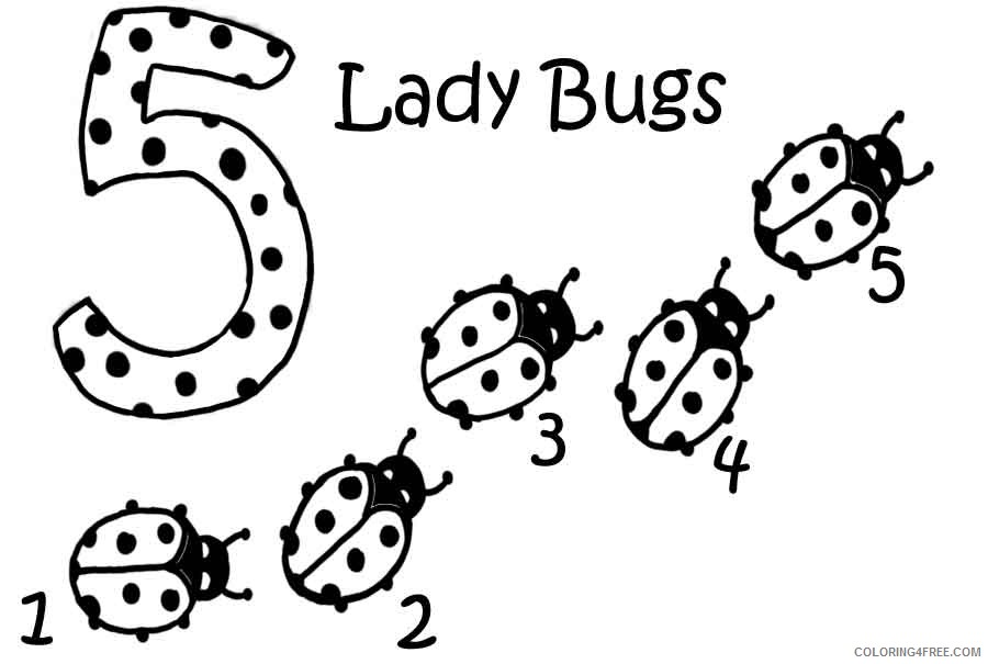 ladybug coloring pages five ladybugs Coloring4free ...