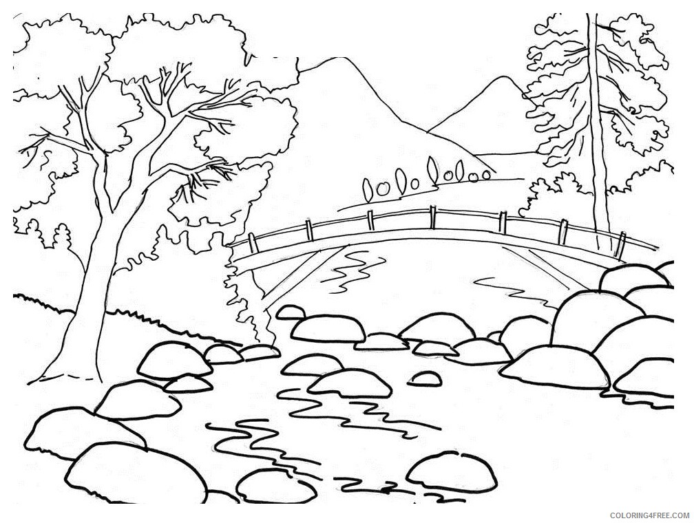 landscape coloring pages mountain river Coloring4free ...
