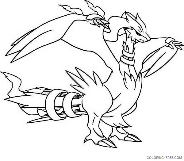 Legendary Pokemon Coloring Pages Reshiram Coloring4free - Coloring4Free.com