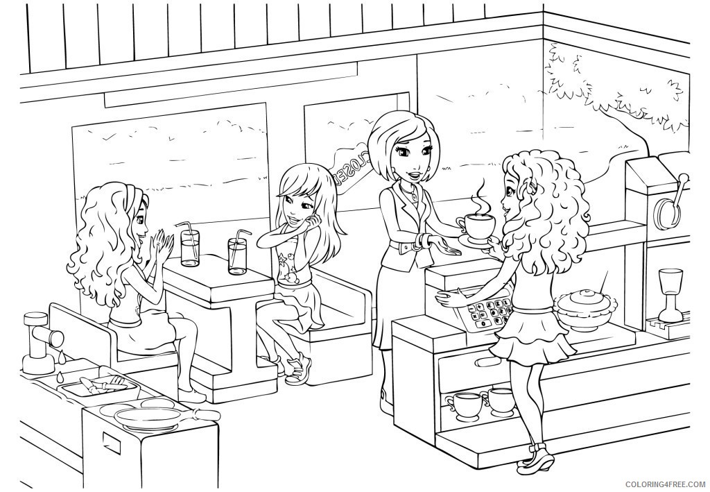 - Lego Friends Coloring Pages At Cafe Coloring4free - Coloring4Free.com