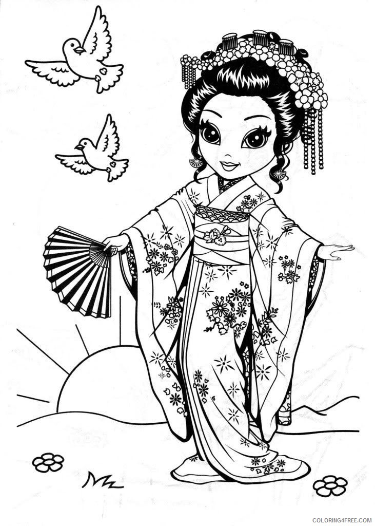 Lisa Frank Coloring Pages Chinese Girl Coloring4free - Coloring4Free.com