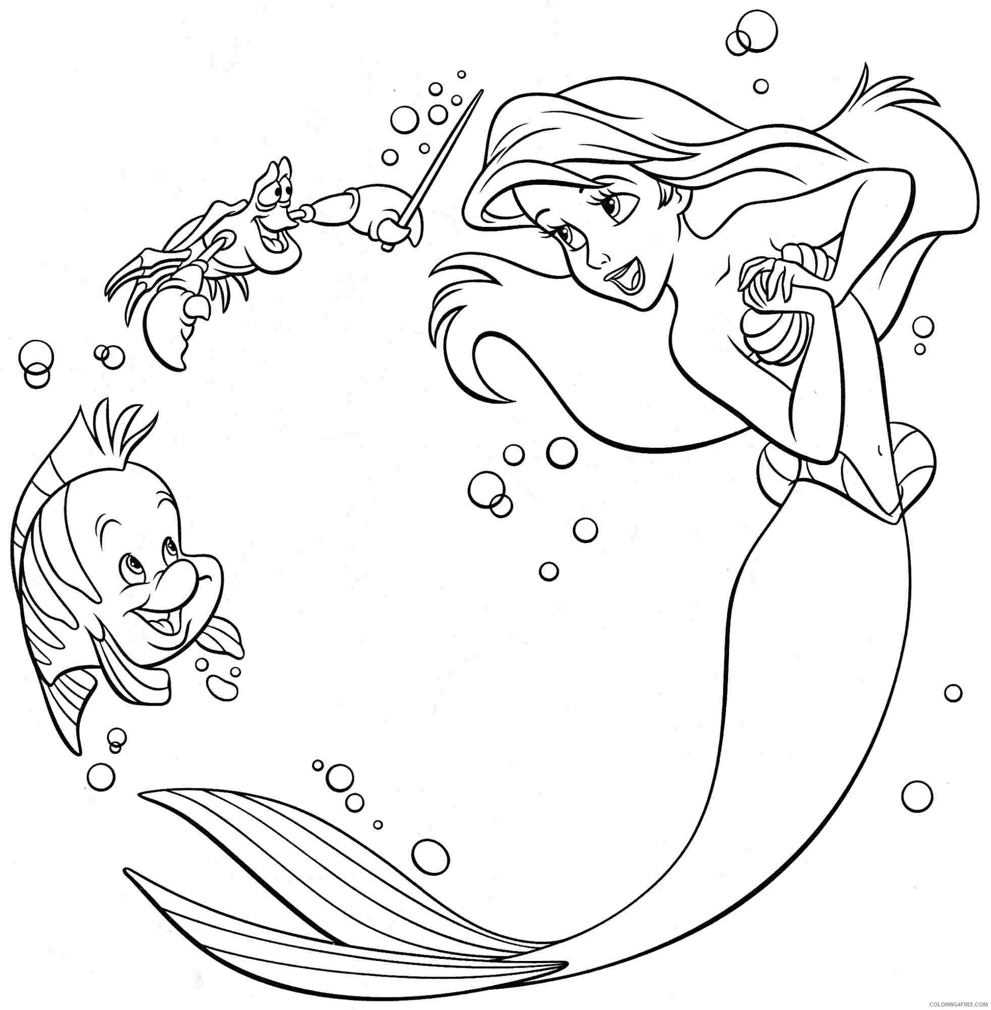 Little Mermaid Coloring Pages Ariel Friends Coloring4free