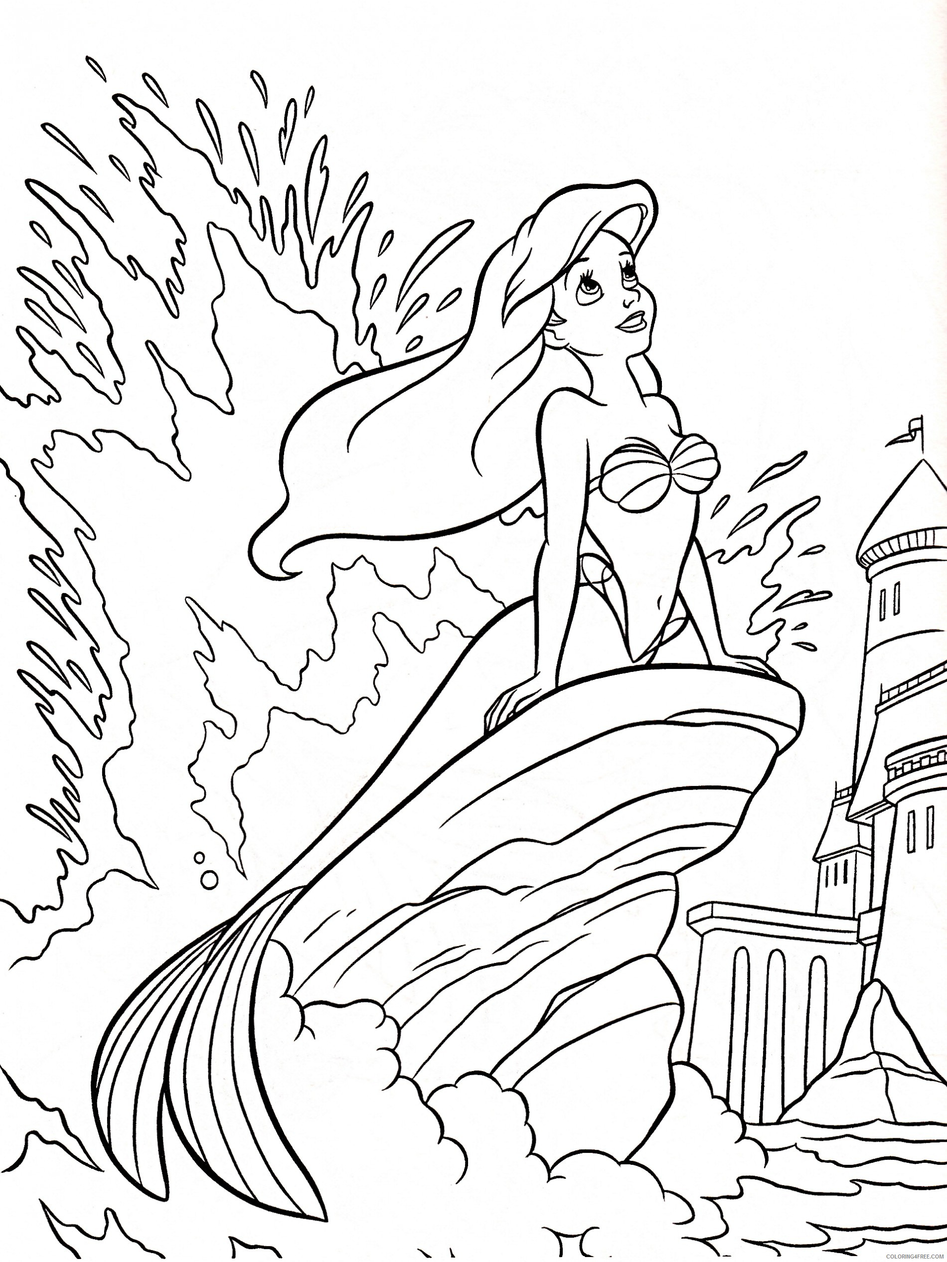 Ariel The Mermaid Coloring Pages - Coloring Home | 2532x1900