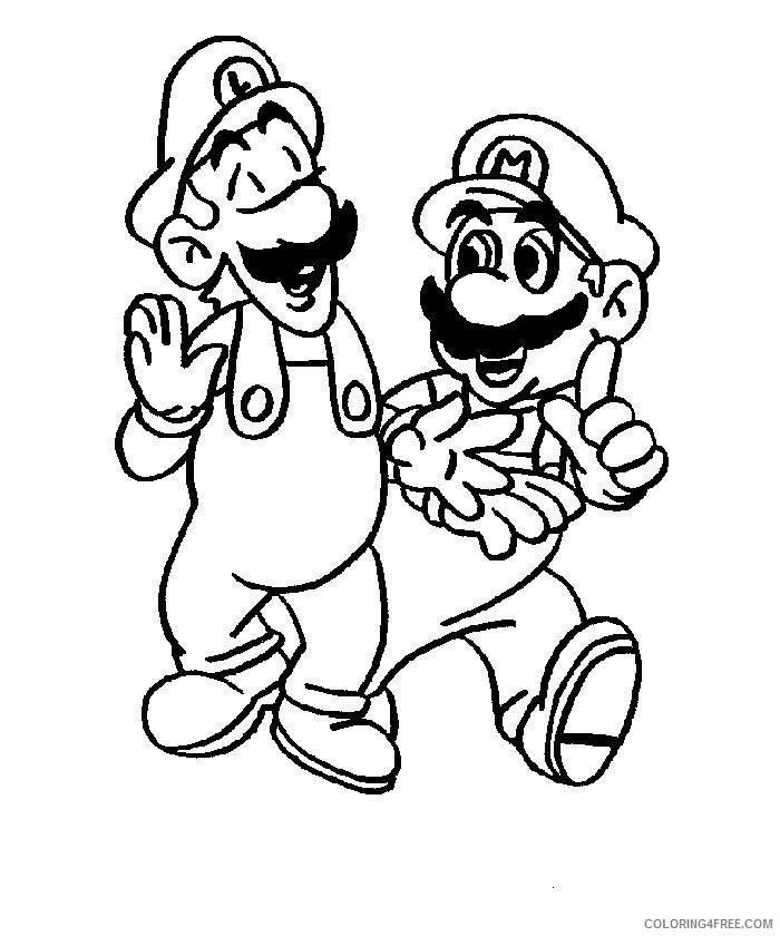 Mario , Luigi , Wario and Yoshi - Mario Bros Kids Coloring Pages | 840x700