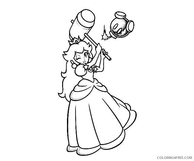 Mario Kart Coloring Pages Peach Coloring4free Coloring4free Com