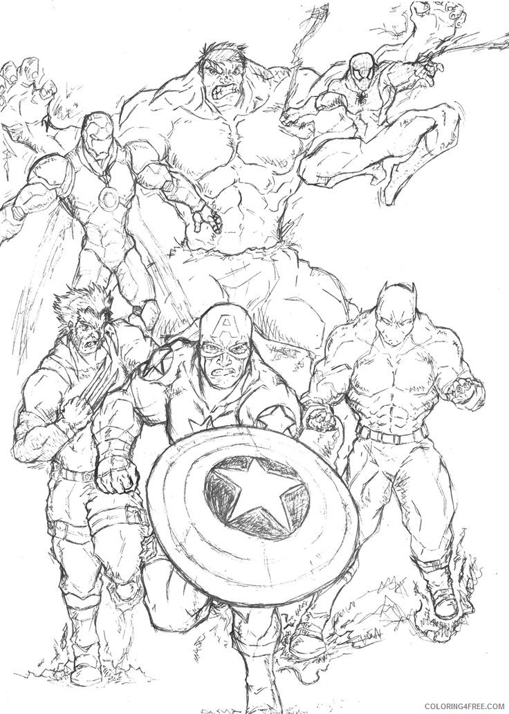 Marvel Heroes Coloring Pages Coloring4free - Coloring4Free.com
