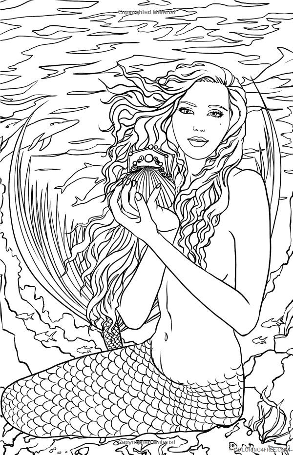Mermaid Fantasy Coloring Pages For Adults Coloring4free Coloring4free Com