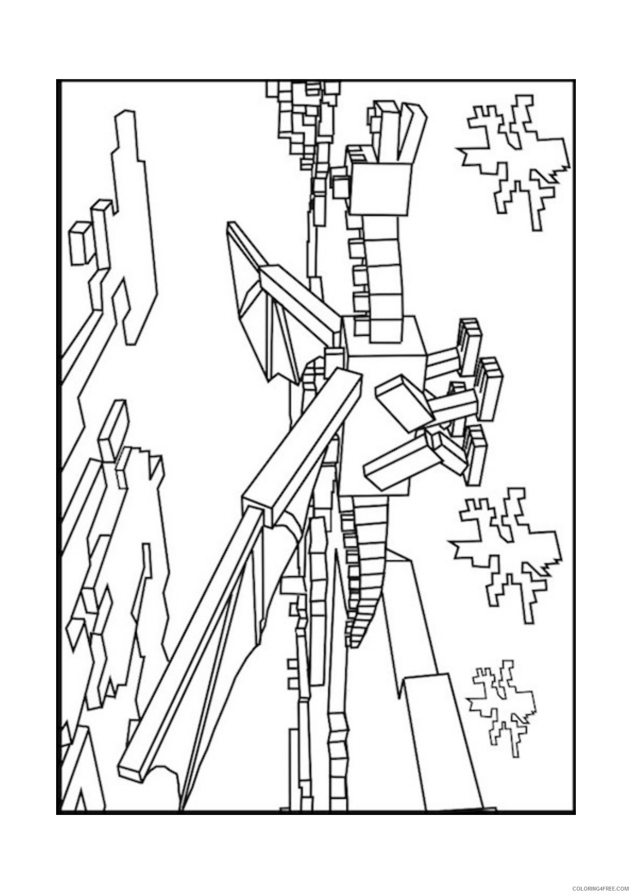 Minecraft Ender Dragon Coloring Pages Coloring4free Coloring4free Com