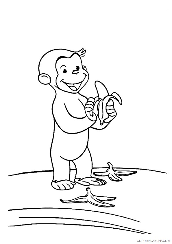 Monkey Coloring Pages Curious George Coloring4free - Coloring4Free.com