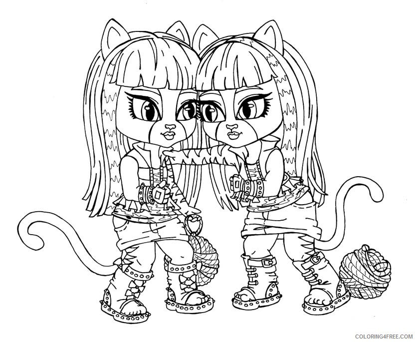 Monster High Pets Coloring Pages | Werecat's sisters coloring page ... | 685x834