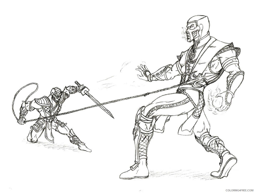 Mortal Kombat Coloring Pages Scorpion Vs Sub Zero Coloring4free