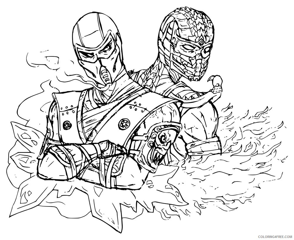 mortal kombat coloring pages sub zero and scorpion ...