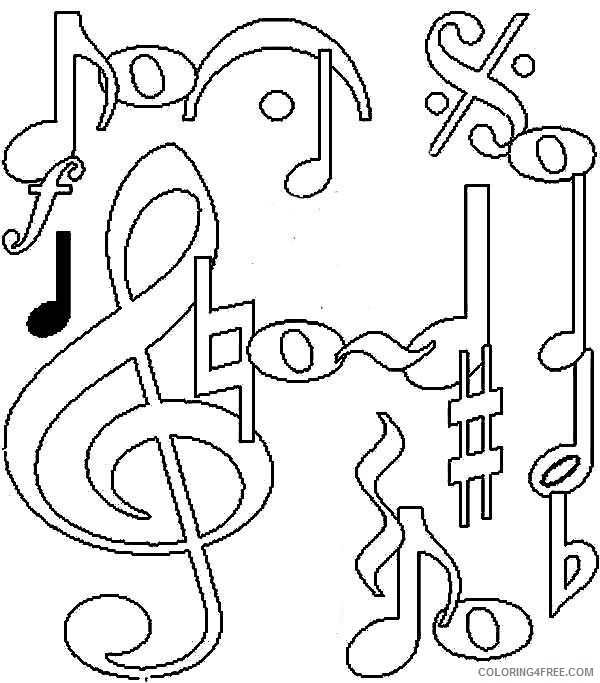 Music Coloring Pages Music Notes Coloring4free Coloring4free Com