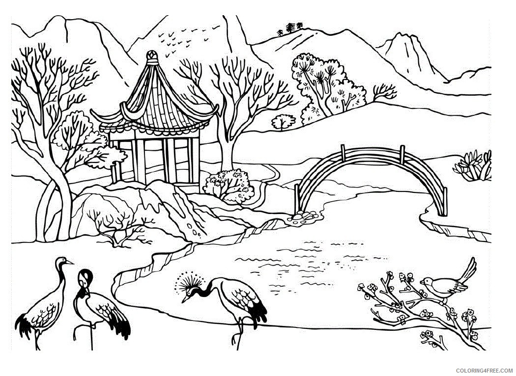 Nature Coloring Pages Mountain Lake Coloring4free Coloring4free Com