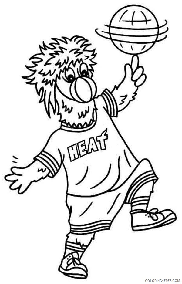 Nba Coloring Pages Miami Heat Mascot