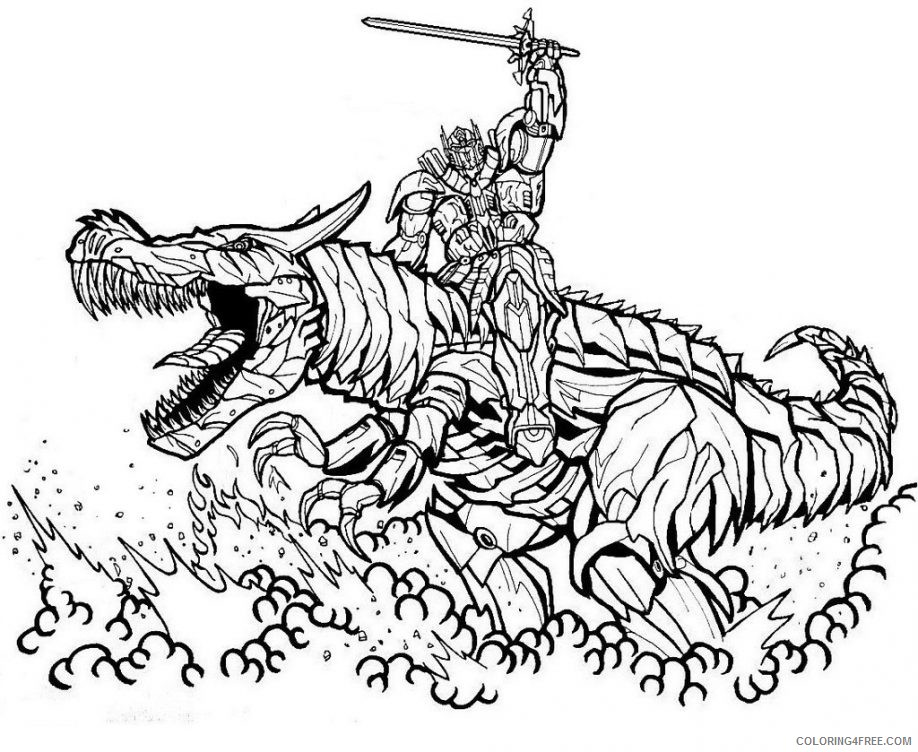 Optimus Prime Coloring Pages And Grimlock Coloring4free Coloring4free Com