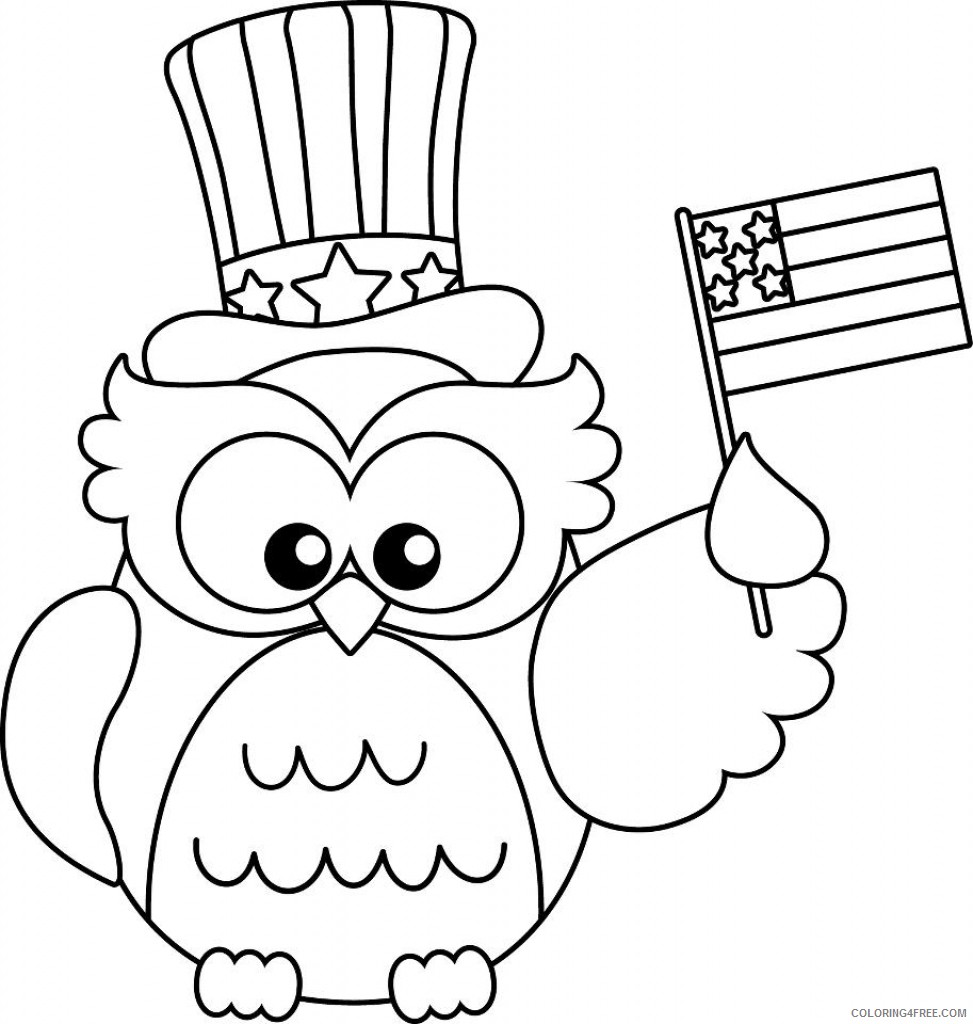 Patriotic Coloring Pages Cute Owl Coloring4free Coloring4free Com