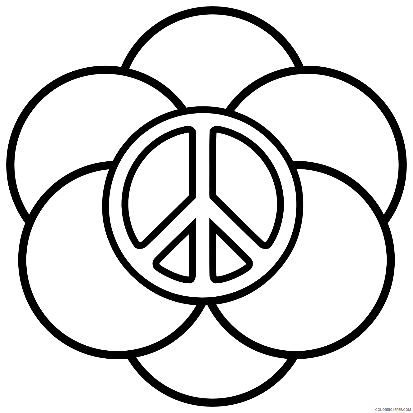 peace sign coloring pages with circles Coloring4free - Coloring4Free.com