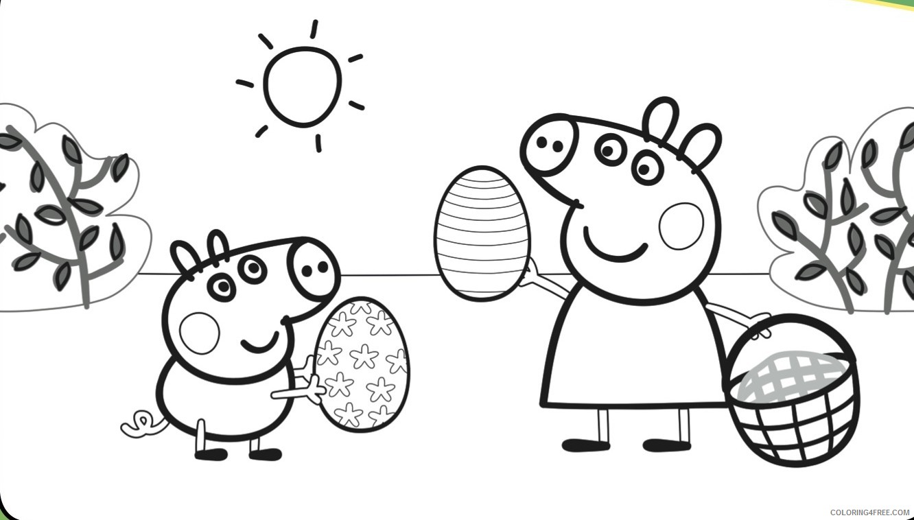 Peppa Pig Coloring Pages Easter Coloring4free Coloring4free Com