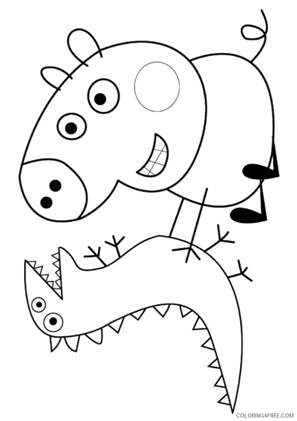 peppa pig coloring pages george and dinosaur Coloring4free ...