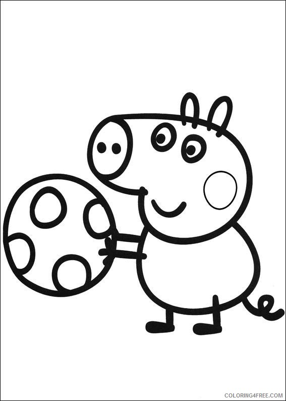 peppa pig coloring pages george playing ball Coloring4free ...