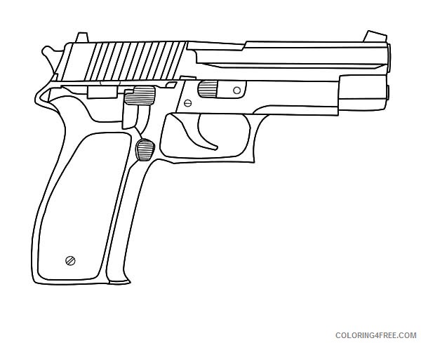 Pistol Gun Coloring Pages Coloring4free Coloring4free Com