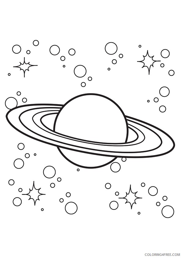 Planet Coloring Pages Saturn With Stars Coloring4free Coloring4free Com