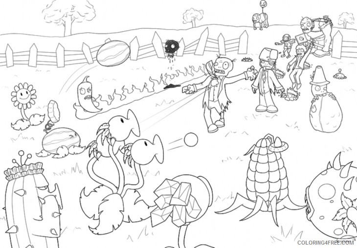 - Plants Vs Zombies Coloring Pages Battle Coloring4free - Coloring4Free.com