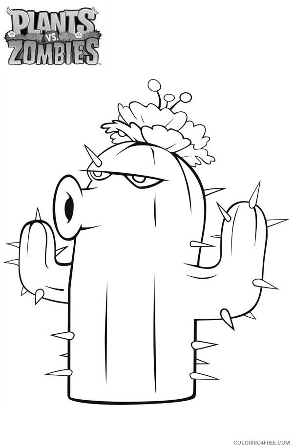 - Plants Vs Zombies Coloring Pages Cactus Coloring4free - Coloring4Free.com