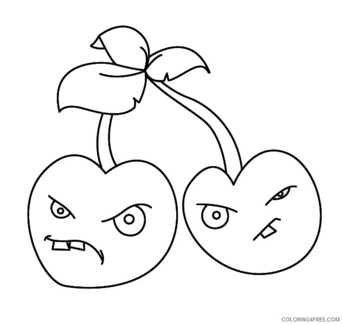 - Plants Vs Zombies Coloring Pages Cherry Bomb Coloring4free -  Coloring4Free.com