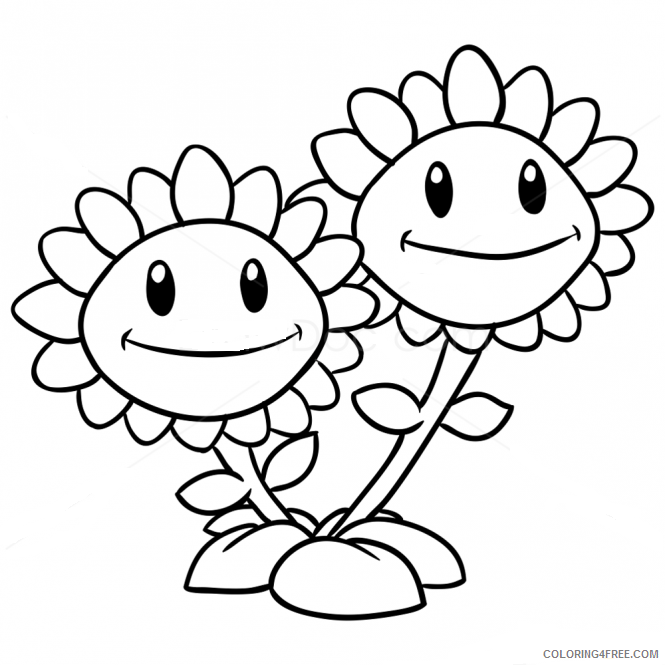 Plants Vs Zombies Coloring Pages Twin Sunflower Coloring4free -  Coloring4Free.com