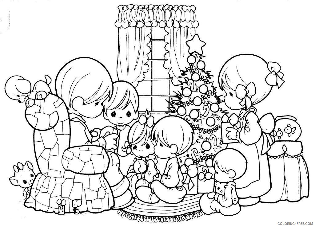 Precious Moments Coloring Pages Christmas Family Coloring4free -  Coloring4Free.com