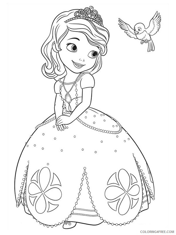Princess Sofia Coloring Pages And Mia The Bird Coloring4free -  Coloring4Free.com